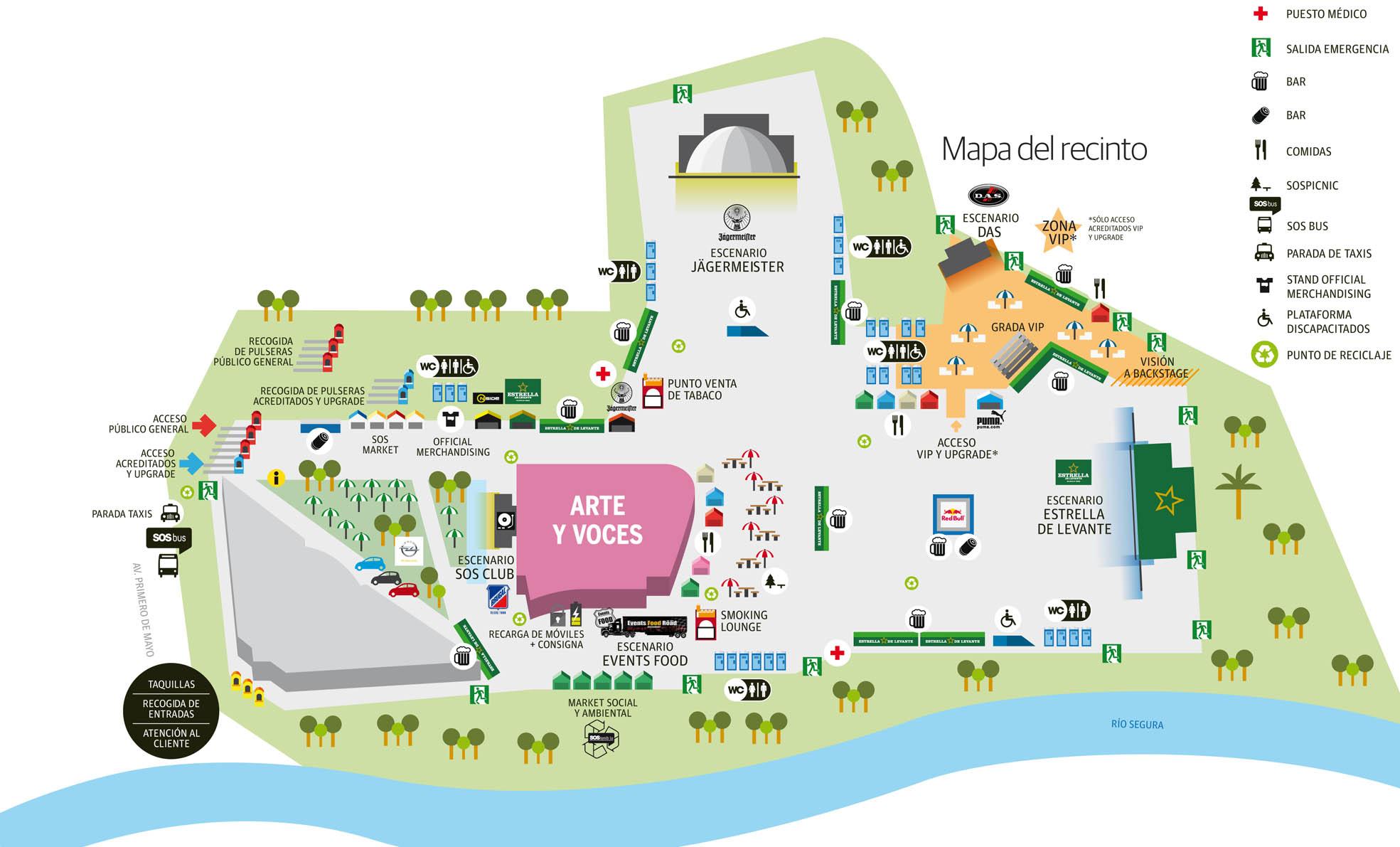 Mapa del recinto del Festival Estrella de Levante SOS 4.8